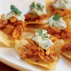 Roast Chicken-Chipotle Nachos with Cilantro-Avocado Crema | MyRecipes.com #MyPlate #protein #grain