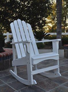 Marina White Cedarwood Porch Outdoor Rocker Adirondack Rocking Chair, Outdoor Rocking Chairs, Adirondack Chairs, Patio Chairs, Outdoor Furniture, Outdoor Decor, Outdoor Stuff, Pallet Furniture, Furniture Plans