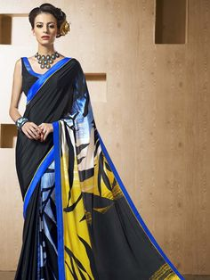 Seductive black color satin #Saree with abstract print and fancy patch border is fluently awesome.  Item Code; SDHI1856  http://www.bharatplaza.com/new-arrivals/sarees.html