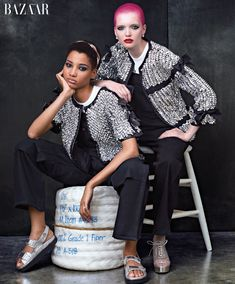 Lineisy Montero and Ruth Bell pose in Chanel jackets for Harper's Bazaar March 2016 issue