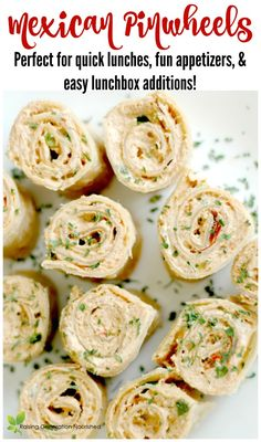 Healthy Meals For Kids Mexican Pinwheels : Perfect for Quick Lunches, Fun Appetizers, and easy Lunchbox Additions! Quick And Easy Appetizers, Healthy Appetizers, Appetizer Recipes, Healthy Snacks, Healthy Kids, Quick Snacks, Pinwheel Appetizers, Appetizers For Kids, Gastronomia