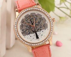 Luxusné dámske hodinky s kryštálovým stromom s ružovým remienkom