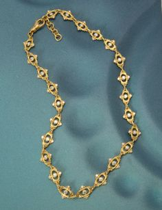 """If understated luxury is your preferred mode of self-expression, this necklace speaks volumes! Twenty-four 18kt gold links studded with white diamonds 3.84 ctw., and fitted with an adjustable clasp...fabulous, darling!    Approximate length: 17-18"""""""