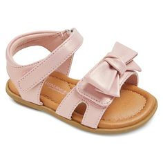 Infant Girls' Genuine Kids Morgs Double Strap Slide Sandals With Bow - Pink : Target