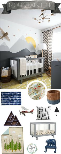 Blue Bars Rug Blue Bear Wall Hook Half Tone Floor Basket (Blue) Mountain Pillow Mountain Shelf Nature Trail Baby Quilt Nature Trail Crib Sheet Metal Toy Plane (Find these at an antique shop or yard sales!) Triangle Hook Photo by Transitional Nursery by Ottawa Interior Designers & Decorators Leclair Decor Very cute theme. For a cheaper alternative I recommend the following: Make your own DIY Mountain Pillow You can surely make your own Mountain Shelf Always search antique shops and yard sa...