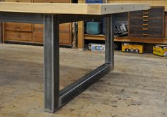 Dining table made from square metal tube