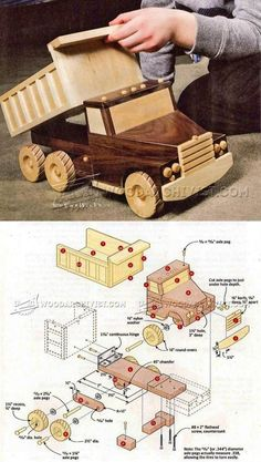 Wooden Toy Truck Plans - Wooden Toy Plans and Projects - Woodwork, Woodworking, Woodworking Plans, Woodworking Projects Wooden Toy Trucks, Wooden Car, Wooden Projects, Wooden Crafts, Making Wooden Toys, Wood Toys Plans, Woodworking Toys, Woodworking Projects, Woodworking Skills
