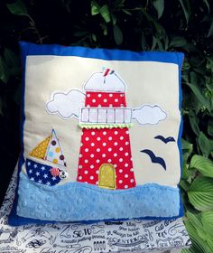 Colorfull aplication :) #craft #craftoholicshop #aplication #pillow #handmade #sew #sewing #nautical #marines # marine #anchor #seaview #sea #holidays #lighthouse
