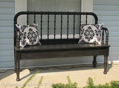 DIY Headboard Bench   My Repurposed Life-Jenny Lind headboard bench made from scrap parts