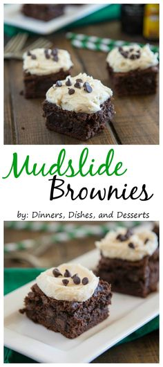 Mudslide Brownies - a classic drink turned into a rich, fudgy, and boozy brownie.