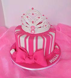 Princess birthday cake with fondant crown
