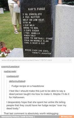 Fudge recipe headstone