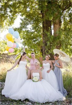 love the different props for each bridesmaid! balloons, parasol, fans, flowers!