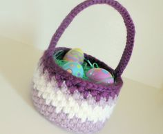 Easter Basket, Crochet Easter Egg Basket in Lavender, Purple, and White, Baby Basket and Shower Gift #2014 #easter #basket #ideas www.loveitsomuch.com