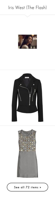 """Iris West (The Flash)"" by happy-fashionx ❤ liked on Polyvore featuring arrow, outerwear, jackets, black, balenciaga, asymmetrical zip moto jacket, moto jacket, balenciaga jacket, zipper jacket and dresses"
