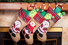 "18"" Burlap Christmas Stockings 3 Pcs Set - http://www.christmasshack.com/christmas-stockings/18-burlap-christmas-stockings-3-pcs-set/"