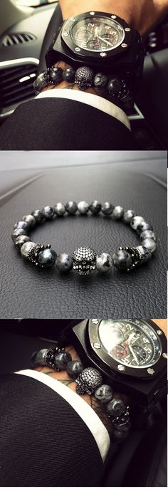 Mens Skull Bracelet With Natural Grey Stone Beads #babyclothes