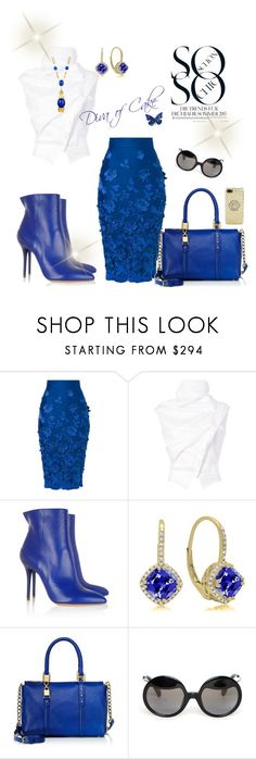 """""""White blue and gold outfit"""" by Diva of Cake on Polyvore featuring Ermanno Scervino, Aganovich, Trina Turk, Maison Margiela, Juicy Couture, Yohji Yamamoto and Versace"""