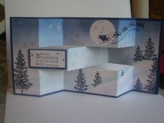 Poster: Londonblue  Technique:  Tri-fold Shutter Card  here is my christmas card for this year. It's also doubling for the Tri-Fold swap I'm in :)    Stamps: Lovely As A Tree, Wandering Words,serene snowflakes, retired sentiment (SU)  Paper: Night Of Navy, WW  Ink: Bashful Blue, Night Of Navy, Almost Amythest, Black Stazon  Accessories: Stamp A Majig, new white shimmer paint  Techniques: Masking, Tri Fold, brayering