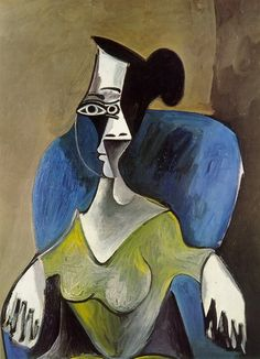Woman sitting in a blue armchair, 1962 Pablo Picasso. Woman sitting in a blue armchair, 1962 Pablo Picasso Quotes, Pablo Picasso Drawings, Picasso Portraits, Picasso Art, Picasso Paintings, Georges Braque, Line Art, Cubist Movement, Blue Armchair