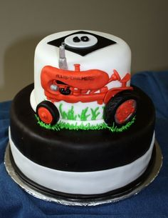 Allis Chalmers tractor cake.  Allis Chalmers tractors are the preferred tractor in my family.