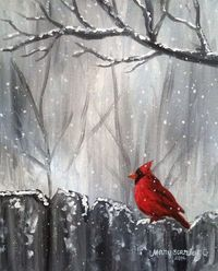 Cardinal on Fence, Winter Scene, Cardinal in Snow, Cardinal Painting.