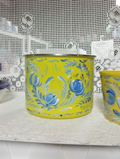 A Yellow Enamelware Container Hand Painted in an by FolkArtByNancy, $26.00