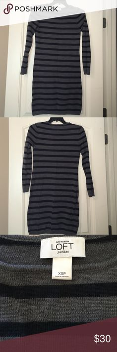 ♥️SALE♥️ Loft sweater dress. Great condition! Gray and navy striped sweater dress gently used but in great condition!! 50% merino wool 50% acrylic. Great to wear with leggings or alone!! Non smoker. No trades. LOFT Dresses Mini