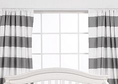 SALE one pair of white and stripe curtains by EllaBellaFabric on Etsy