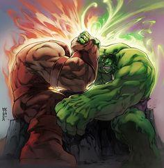 Juggernaut Vs Hulk by Minoh Kim Marvel Comic Character, Comic Book Characters, Comic Book Heroes, Marvel Characters, Comic Books Art, Comic Art, Character Art, Hulk Comic, Hulk Avengers