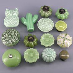 Green Door Knobs Cute Ceramic Knobs Unique Cabinet Pulls Owl   Etsy
