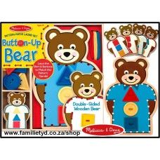 NEW! Button-up Bear ~ wooden bear with laces and buttons!  Children can lace the bear's shirt and attach any of nine colorful shaped buttons down the front. Match the shapes on beginner-friendly blue side of the bear, match the five double-sided pattern cards for a greater challenge, or use the laces and buttons to create one-of-a-kind designs - any way you play, this clever manipulative is great for building fine motor skills, hand-eye coordination, creativity, and confidence.