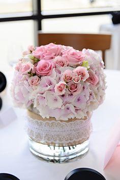 Burlap and lace pink floral wedding reception centerpiece....without the burlap please....