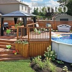 Le patio trait d'union – Je Jardine Serving as a transition between the house and the swimming pool, a magnificent. Pool Deck Plans, Patio Plans, Backyard Pool Designs, Backyard Patio Designs, Backyard Ideas, Above Ground Pool Decks, Ground Pools, Backyard Pool Landscaping, Swimming Pools Backyard