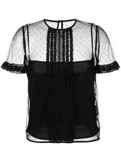 polka dot mesh blouse