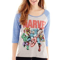 Marvel Heroes 3/4-Sleeve Graphic Tee ($15) ❤ liked on Polyvore featuring tops, t-shirts, shirts, marvel, tees, marvel t shirts, marvel shirts, graphic shirts, graphic design t shirts and 3/4 sleeve shirts