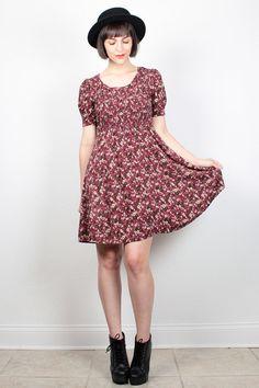 Vintage 90s Burgundy Floral Print Dress