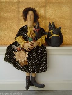 Primitive DOLL PATTERN FOLK ART DOLL w/ black Cat & Crow #105 NEW