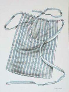 Pentekening/airbrush voorstellende een 'Schortezak, Vlaardingse klederdracht' door Leo Man in 't Veld, datering 2003. Blauwe verticale banen in bundels van 4 op witte stof. #ZuidHolland #Vlaardingen