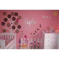 Amazon.com: Girls Wall Decor - Flower Garden Theme Wall Mural - Wall Stencils for Decorating a Girls Room: Home & Kitchen