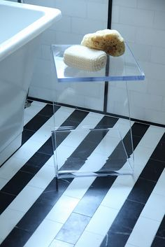 black and white striped tiles for the kitchen