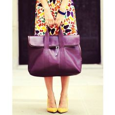 Multicolored print dress, yellow shoes, and purple bag. Love everything except the bag, even though I do love the color.