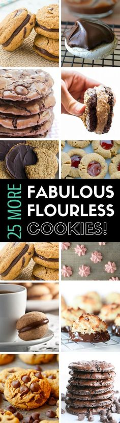 25 MORE Fabulous Flourless Cookies a round-up of the best most delicious gluten free cookies out there! 25 MORE Fabulous Flourless Cookies a round-up of the best most delicious gluten free cookies out there! Cookies Sans Gluten, Best Gluten Free Cookies, Dessert Sans Gluten, Gluten Free Treats, Healthy Cookies, Gluten Free Desserts, Yummy Cookies, Best Cookie Recipes, Best Dessert Recipes