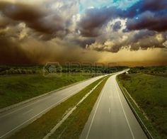 @eegiorgi this one has possibilities Beautiful view on the road under sky with clouds Stock Photo