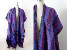 Vintage Handwoven Fringe Cape Shawl / Made in by wemovevintage