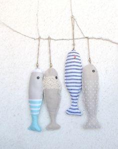 Fabric stuffed fish ornament summer house décor by HelloVioleta