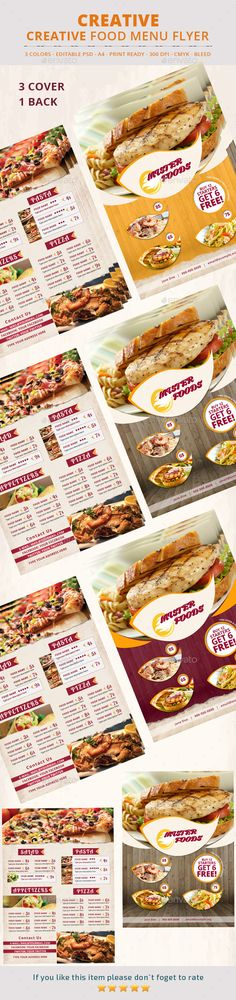 Food Menu Flyer Template #design Download: http://graphicriver.net/item/food-menu-flyer/12650022?ref=ksioks