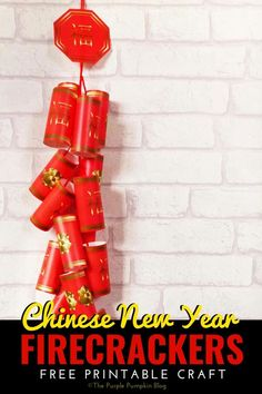 Celebrate the Chinese New Year with this free printable Chinese Firecrackers set! They're fun to make and look awesome hanging on the wall!