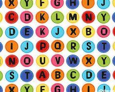 School Days - Alphabet Buttons - White