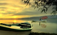 Fisherman, lake, sunrise